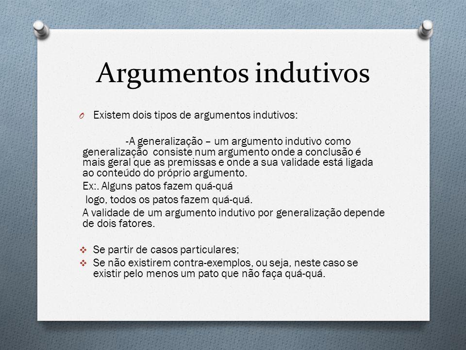 Argumentos indutivos O Existem dois tipos de argumentos indutivos: -A generalização – um argumento indutivo como generalização consiste num argumento