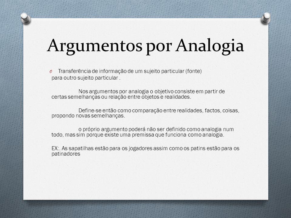 Argumentos por Analogia O Transferência de informação de um sujeito particular (fonte) para outro sujeito particular. Nos argumentos por analogia o ob