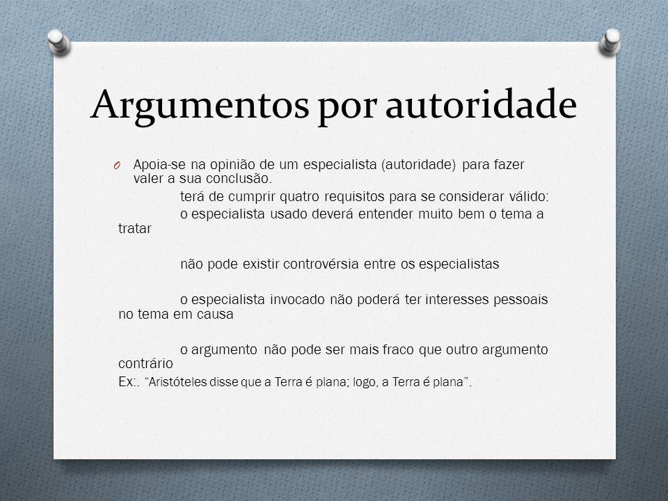 Argumentos por autoridade O Apoia-se na opinião de um especialista (autoridade) para fazer valer a sua conclusão. terá de cumprir quatro requisitos pa