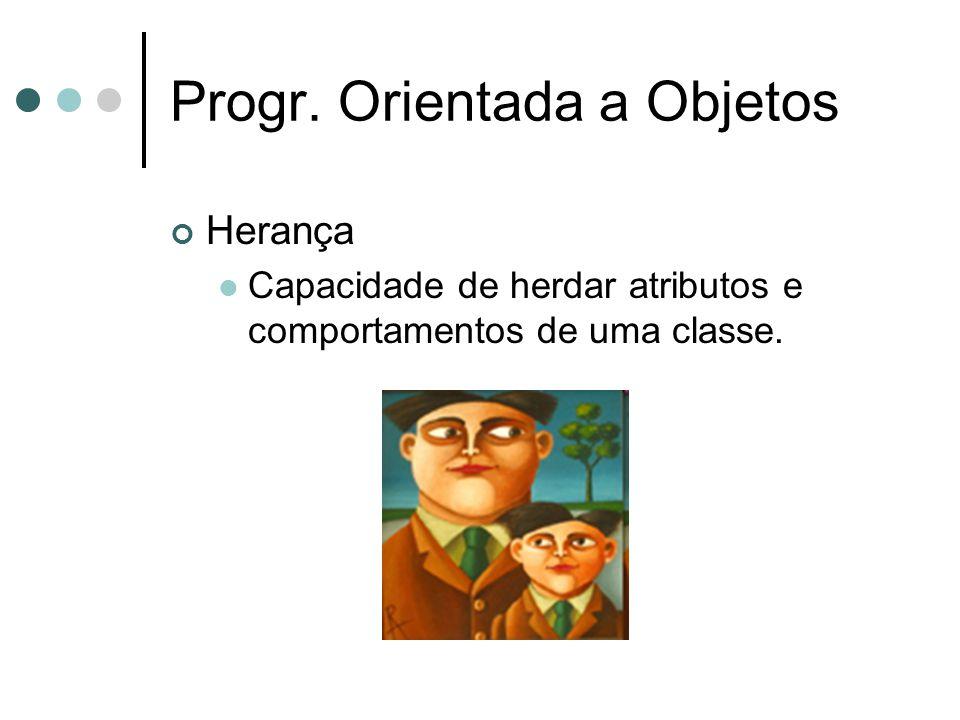 Progr. Orientada a Objetos Herança Capacidade de herdar atributos e comportamentos de uma classe.