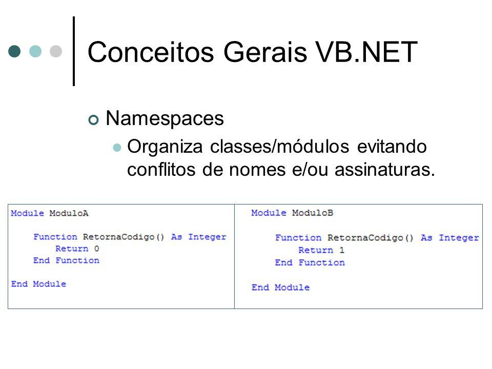 Conceitos Gerais VB.NET Namespaces Organiza classes/módulos evitando conflitos de nomes e/ou assinaturas.