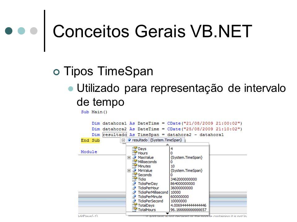 Conceitos Gerais VB.NET Tipos TimeSpan Utilizado para representação de intervalo de tempo