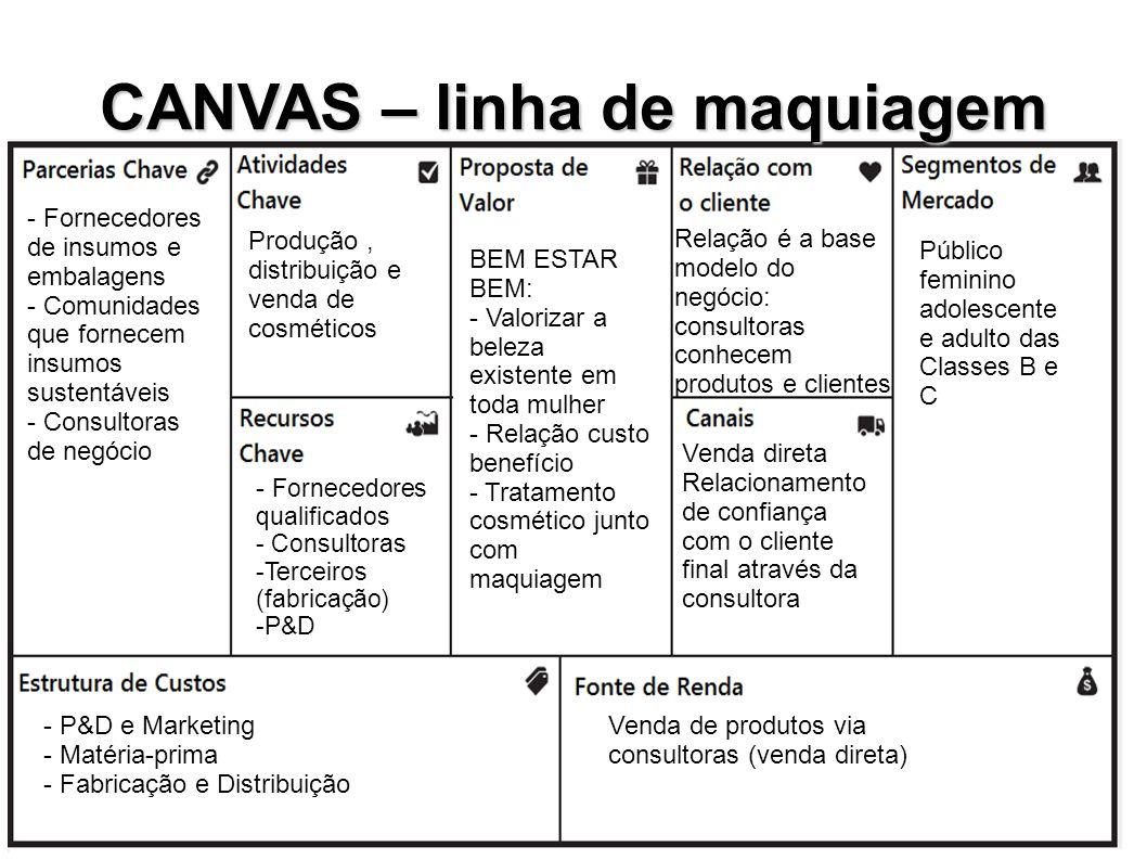 CANVAS – linha de maquiagem Público feminino adolescente e adulto das Classes B e C Venda de produtos via consultoras (venda direta) - P&D e Marketing