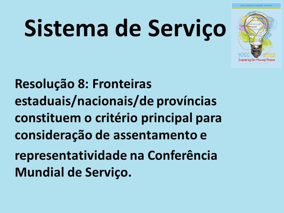 Sistema de Serviço Resolução 8: Fronteiras estaduais/nacionais/de províncias constituem o critério principal para consideração de assentamento e representatividade na Conferência Mundial de Serviço.