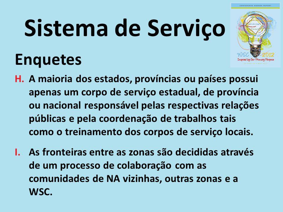Sistema de Serviço Enquetes H.A maioria dos estados, províncias ou países possui apenas um corpo de serviço estadual, de província ou nacional responsável pelas respectivas relações públicas e pela coordenação de trabalhos tais como o treinamento dos corpos de serviço locais.