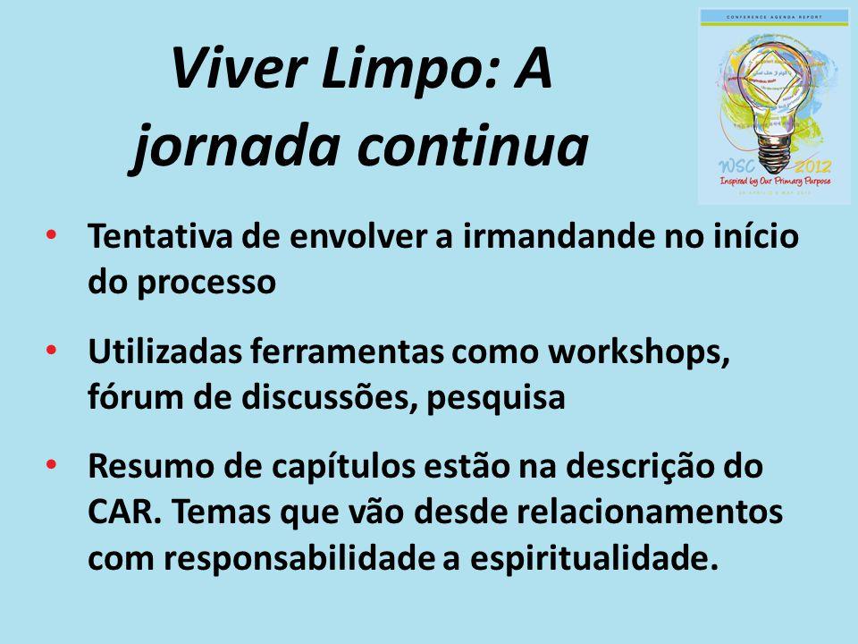 Viver Limpo: A jornada continua Tentativa de envolver a irmandande no início do processo Utilizadas ferramentas como workshops, fórum de discussões, p