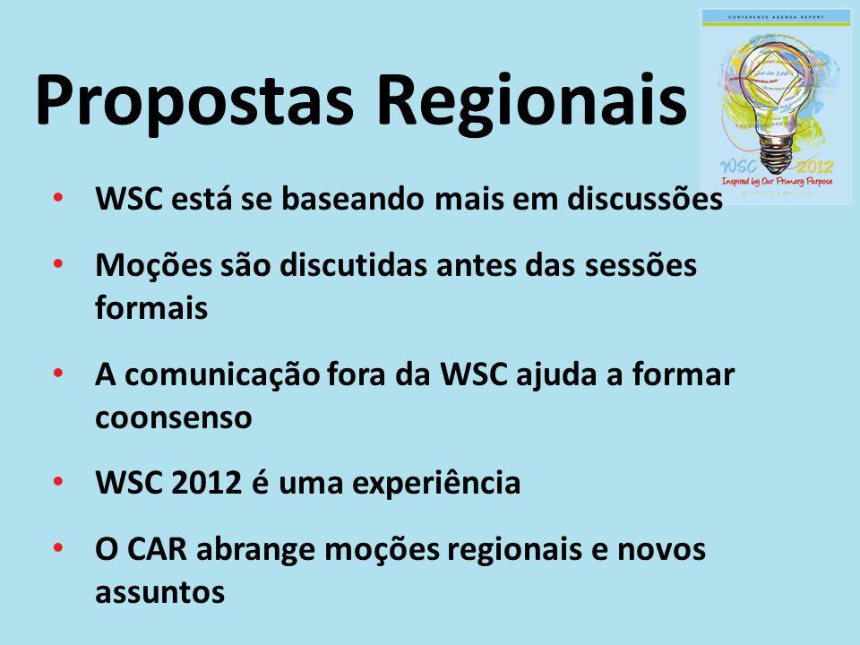 WSC está se baseando mais em discussões Moções são discutidas antes das sessões formais A comunicação fora da WSC ajuda a formar coonsenso WSC 2012 é uma experiência O CAR abrange moções regionais e novos assuntos