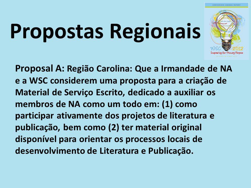 Proposal A: Região Carolina: Que a Irmandade de NA e a WSC considerem uma proposta para a criação de Material de Serviço Escrito, dedicado a auxiliar