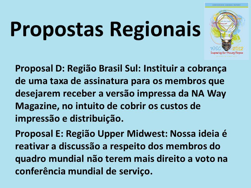 Propostas Regionais Proposal D: Região Brasil Sul: Instituir a cobrança de uma taxa de assinatura para os membros que desejarem receber a versão impre