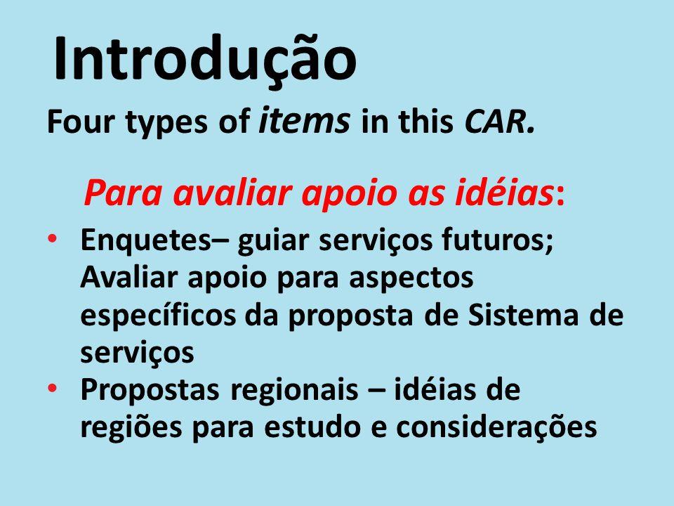 Introdução Dois tipos de propostas: Relatório da proposta do Sistema de Serviços (CAR Adendo A) – um recurso de segundo plano para entender as resoluções e as enquetes Propostas regionais – idéias de regiões para estudo e considerações