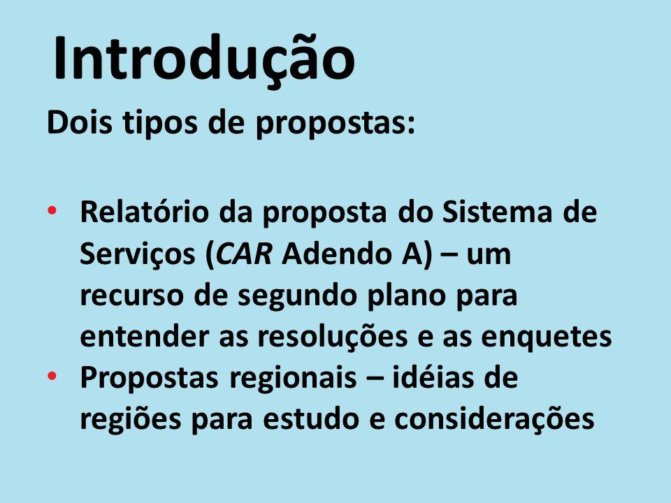 Introdução Dois tipos de propostas: Relatório da proposta do Sistema de Serviços (CAR Adendo A) – um recurso de segundo plano para entender as resoluç