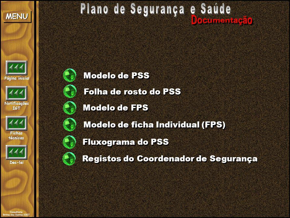 Modelo de FPS Folha de rosto do PSS Modelo de ficha Individual (FPS) Modelo de PSS Fluxograma do PSS Registos do Coordenador de Segurança Página inici