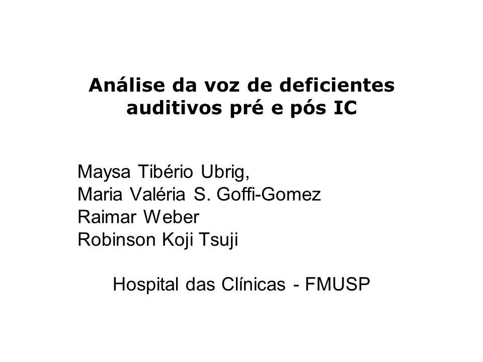 Análise da voz de deficientes auditivos pré e pós IC Maysa Tibério Ubrig, Maria Valéria S. Goffi-Gomez Raimar Weber Robinson Koji Tsuji Hospital das C