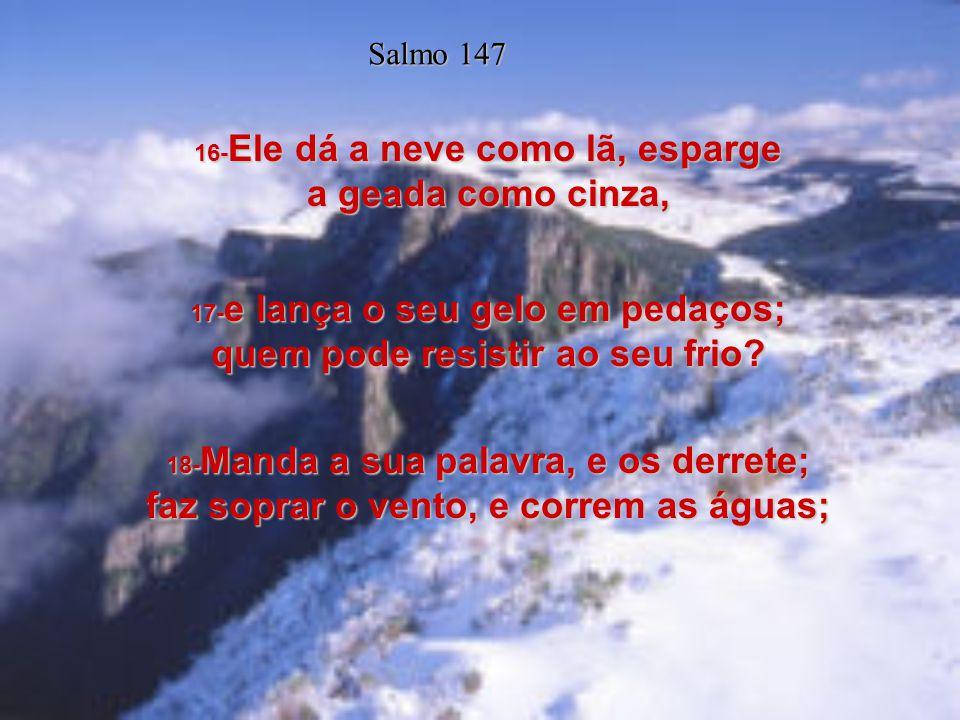 14- Ele é quem estabelece a paz nas tuas fronteiras; quem do mais fino trigo te farta; Salmo 147 15- quem envia o seu mandamento pela terra; a sua pal