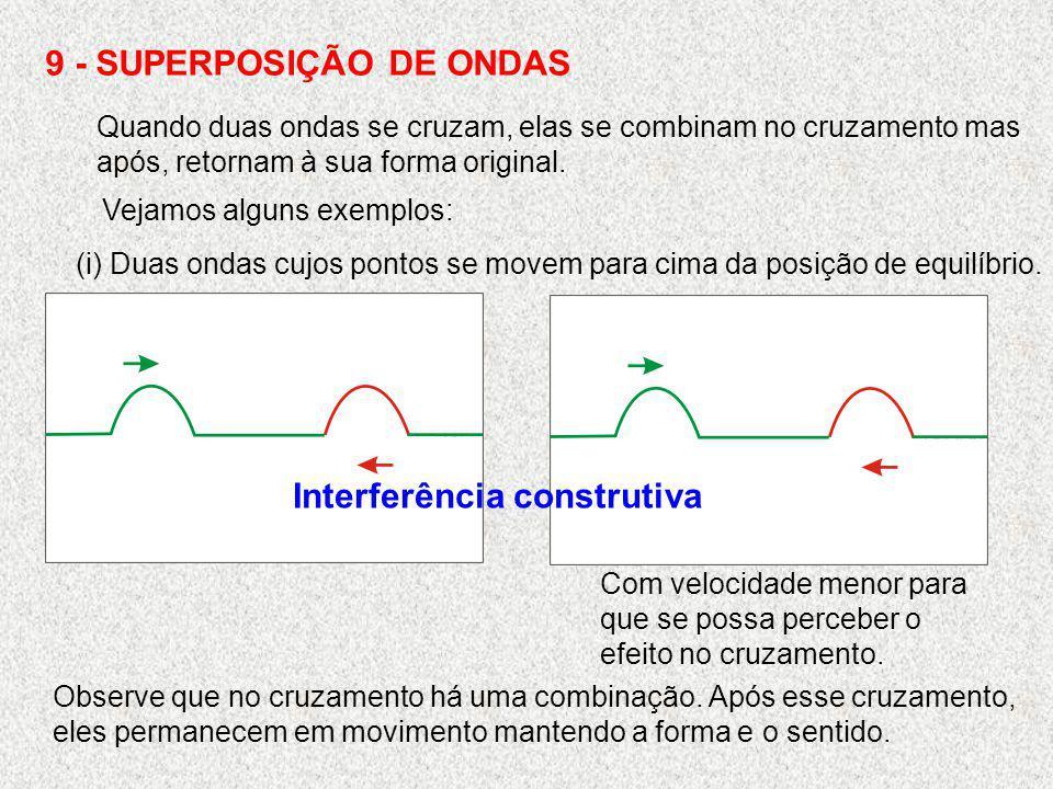 9 - SUPERPOSIÇÃO DE ONDAS Quando duas ondas se cruzam, elas se combinam no cruzamento mas após, retornam à sua forma original. Vejamos alguns exemplos