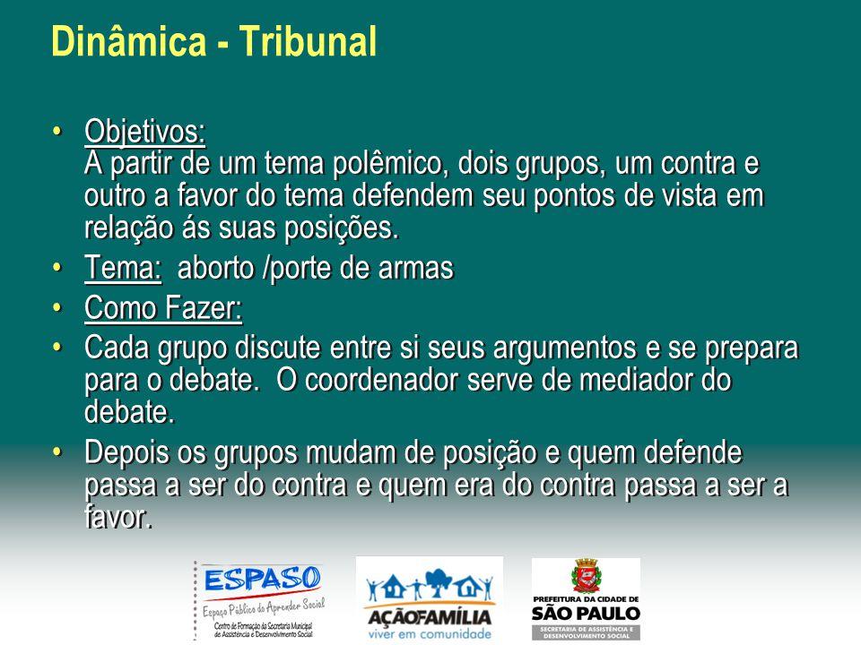 Dinâmica - Tribunal Objetivos: A partir de um tema polêmico, dois grupos, um contra e outro a favor do tema defendem seu pontos de vista em relação ás suas posições.