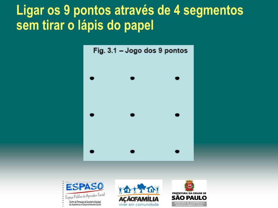 Ligar os 9 pontos através de 4 segmentos sem tirar o lápis do papel