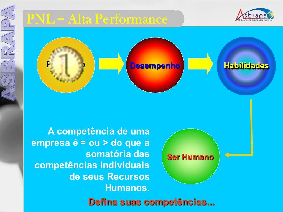 PNL = Alta Performance Resultado Desempenho HabilidadesHabilidades Ser Humano A competência de uma empresa é = ou > do que a somatória das competências individuais de seus Recursos Humanos.