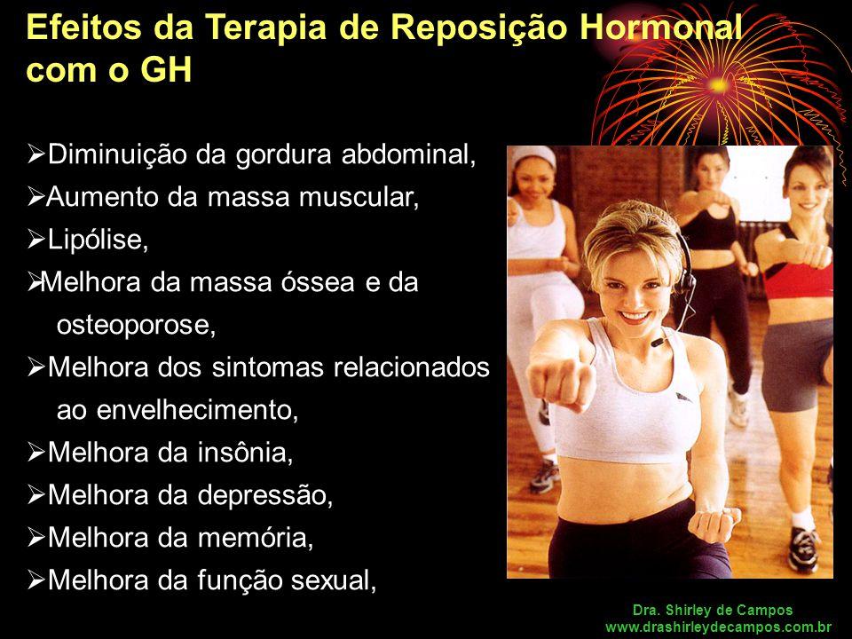 Efeitos da Terapia de Reposição Hormonal com o GH  Diminuição da gordura abdominal,  Aumento da massa muscular,  Lipólise,  Melhora da massa óssea e da osteoporose,  Melhora dos sintomas relacionados ao envelhecimento,  Melhora da insônia,  Melhora da depressão,  Melhora da memória,  Melhora da função sexual, Dra.