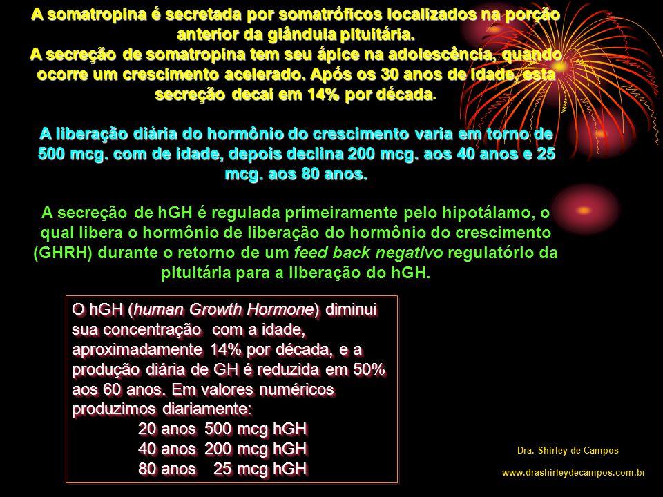 A liberação dos níveis de Hormônio de Crescimento de acordo com a idade e sono nas 24 horas.