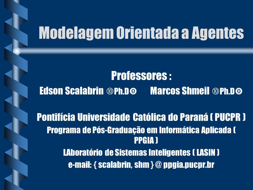 Modelagem Orientada a Agentes Professores : Edson Scalabrin  Ph.D  Marcos Shmeil  Ph.D  Pontifícia Universidade Católica do Paraná ( PUCPR ) Progr