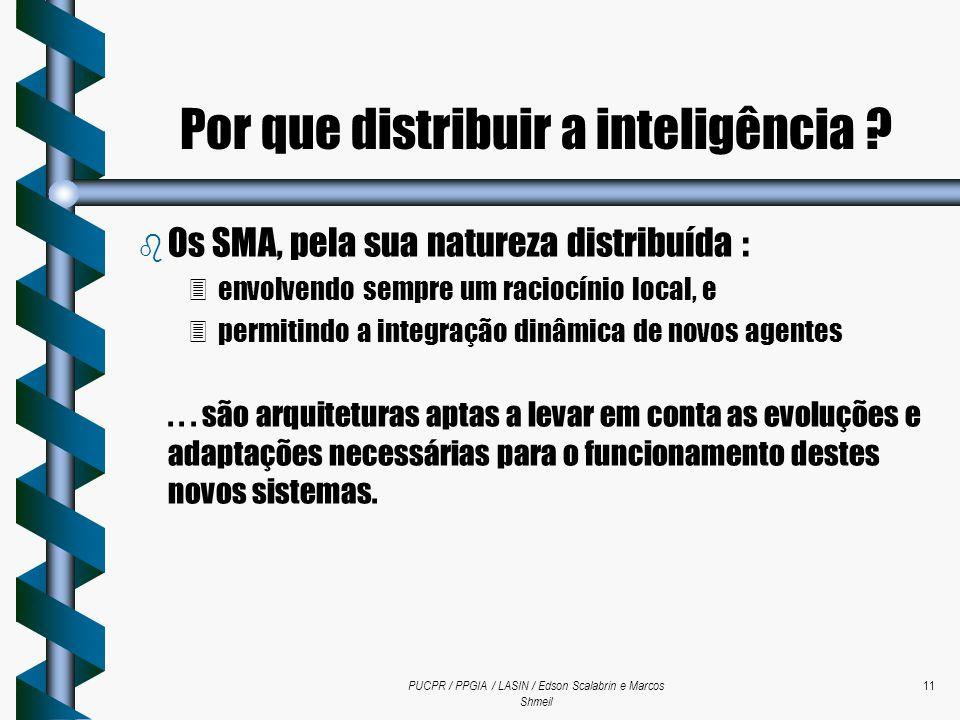 PUCPR / PPGIA / LASIN / Edson Scalabrin e Marcos Shmeil 11 b Os SMA, pela sua natureza distribuída : 3envolvendo sempre um raciocínio local, e 3permit