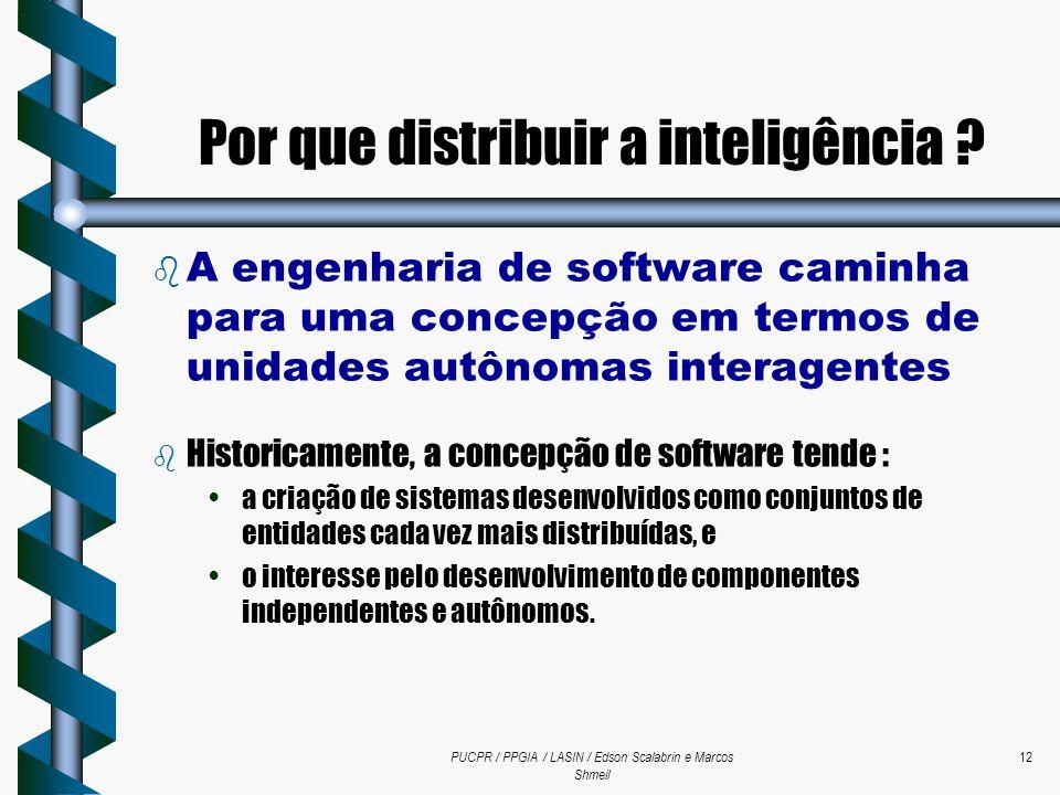 PUCPR / PPGIA / LASIN / Edson Scalabrin e Marcos Shmeil 12  A engenharia de software caminha para uma concepção em termos de unidades autônomas inter
