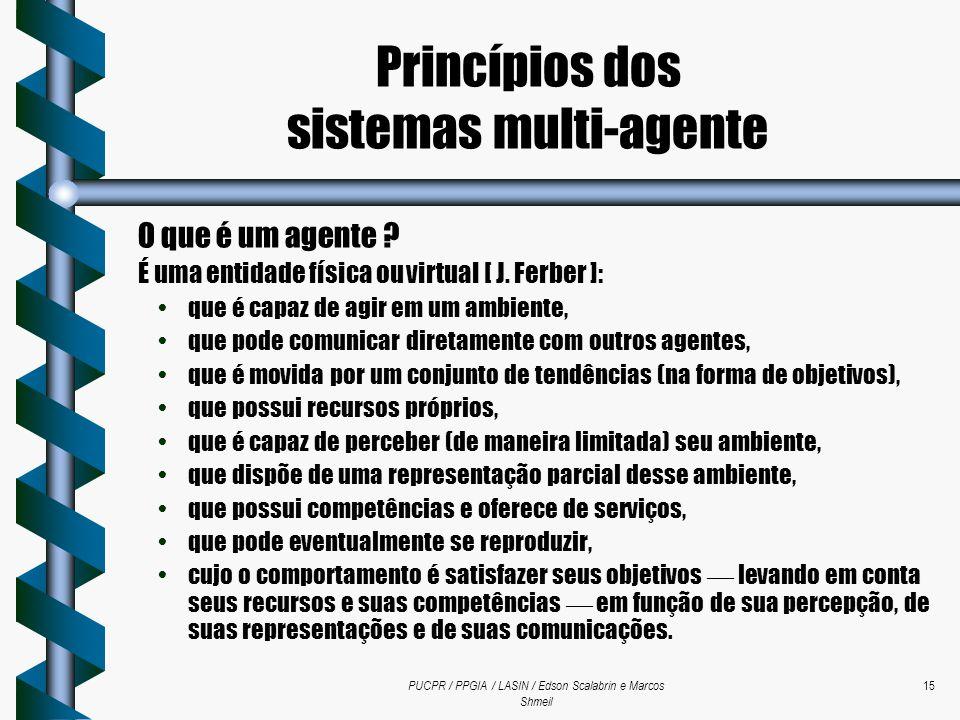 PUCPR / PPGIA / LASIN / Edson Scalabrin e Marcos Shmeil 15 O que é um agente ? É uma entidade física ou virtual [ J. Ferber ]: que é capaz de agir em