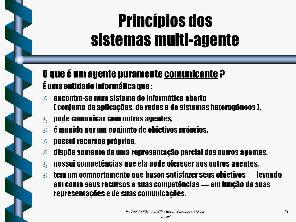 PUCPR / PPGIA / LASIN / Edson Scalabrin e Marcos Shmeil 18 O que é um agente puramente comunicante ? É uma entidade informática que : b encontra-se nu