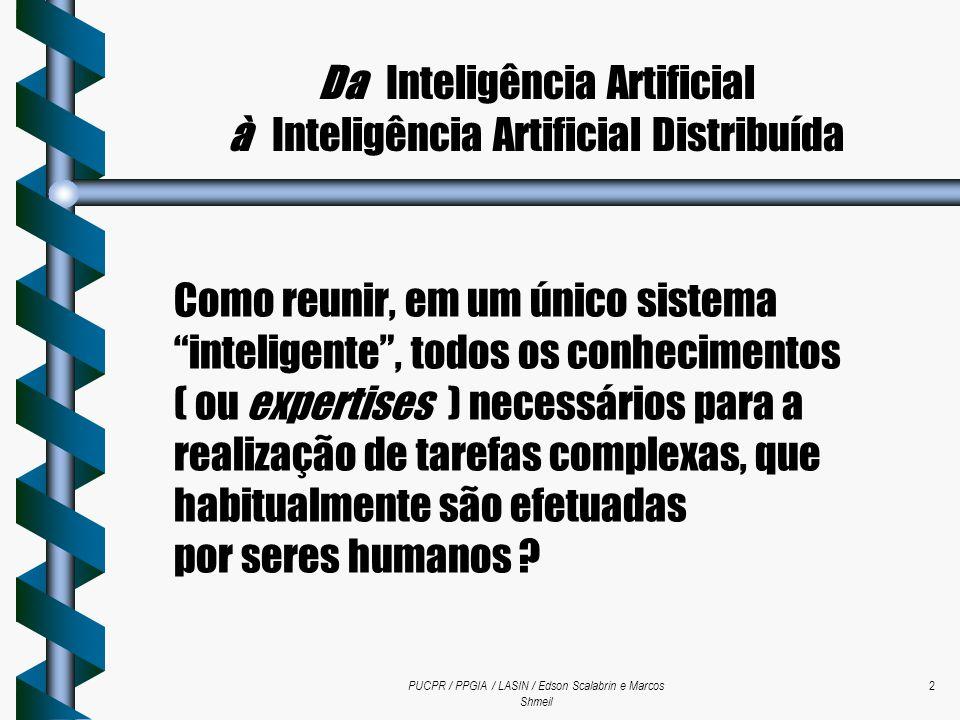 PUCPR / PPGIA / LASIN / Edson Scalabrin e Marcos Shmeil 2 Da Inteligência Artificial à Inteligência Artificial Distribuída Como reunir, em um único si