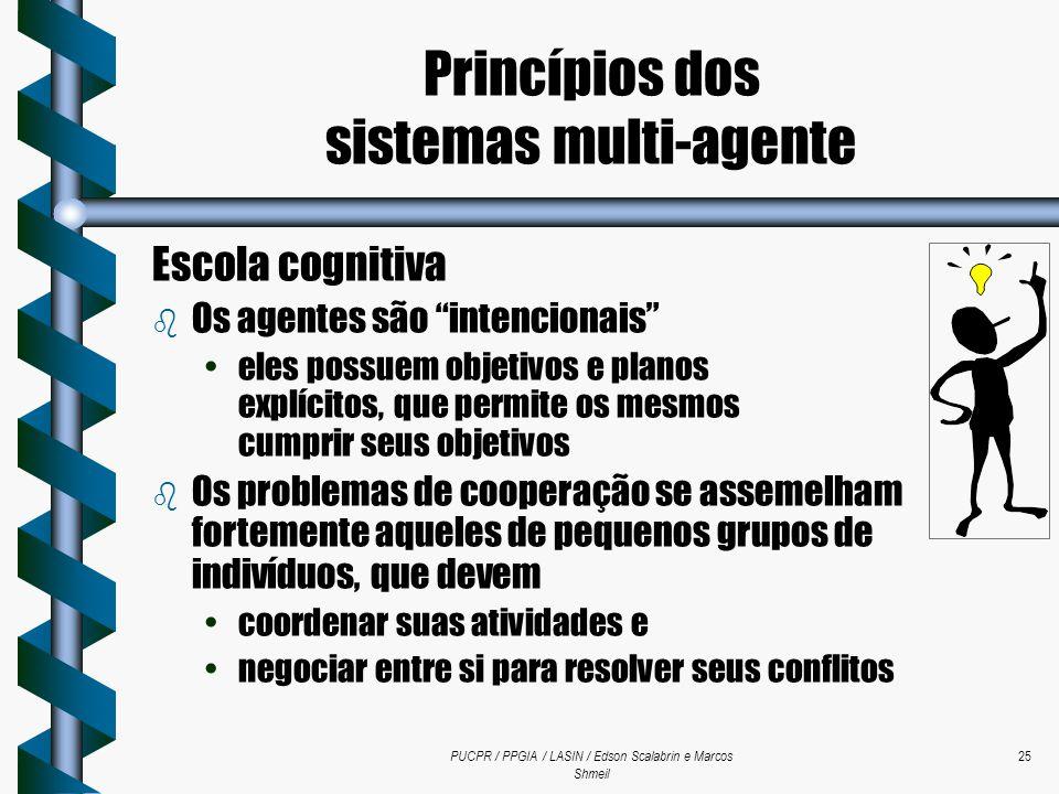 """PUCPR / PPGIA / LASIN / Edson Scalabrin e Marcos Shmeil 25 Escola cognitiva b Os agentes são """"intencionais"""" eles possuem objetivos e planos explícitos"""