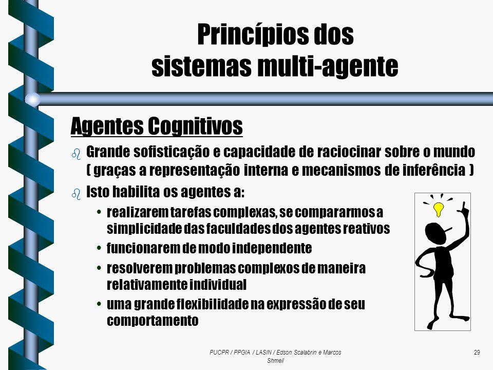PUCPR / PPGIA / LASIN / Edson Scalabrin e Marcos Shmeil 29 Agentes Cognitivos b Grande sofisticação e capacidade de raciocinar sobre o mundo ( graças