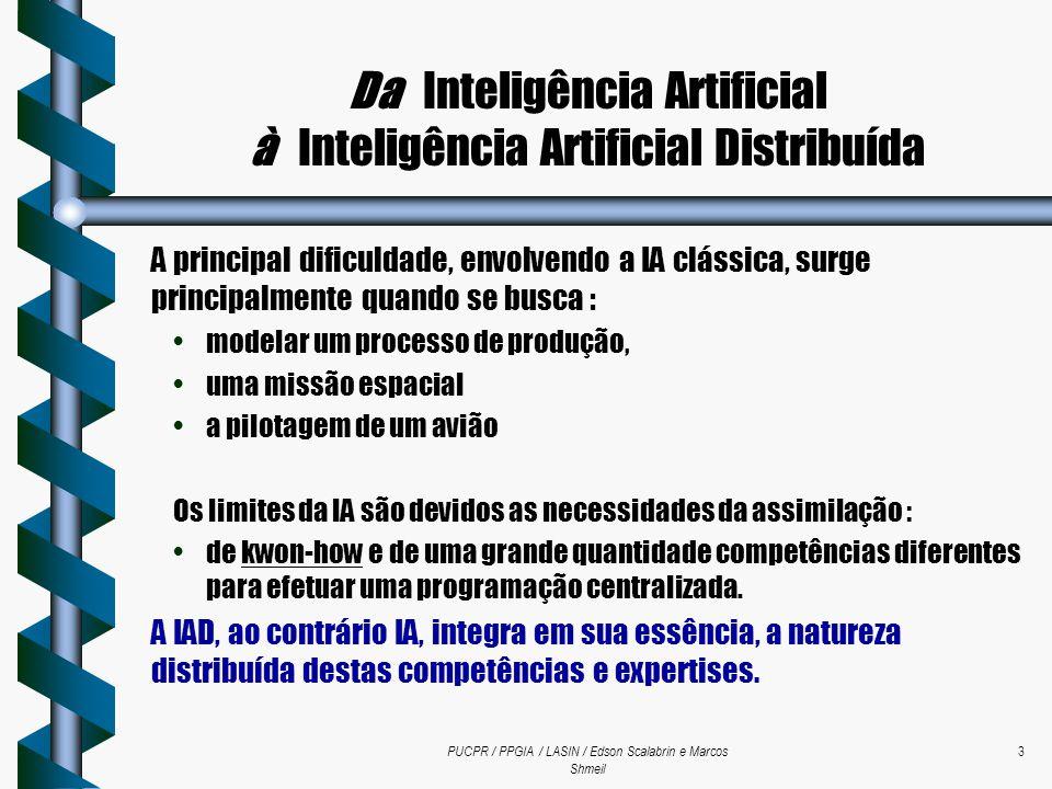 PUCPR / PPGIA / LASIN / Edson Scalabrin e Marcos Shmeil 3 Da Inteligência Artificial à Inteligência Artificial Distribuída A principal dificuldade, en