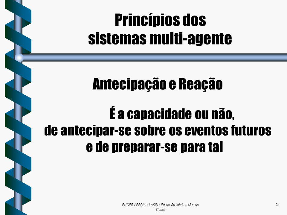 PUCPR / PPGIA / LASIN / Edson Scalabrin e Marcos Shmeil 31 Antecipação e Reação É a capacidade ou não, de antecipar-se sobre os eventos futuros e de p