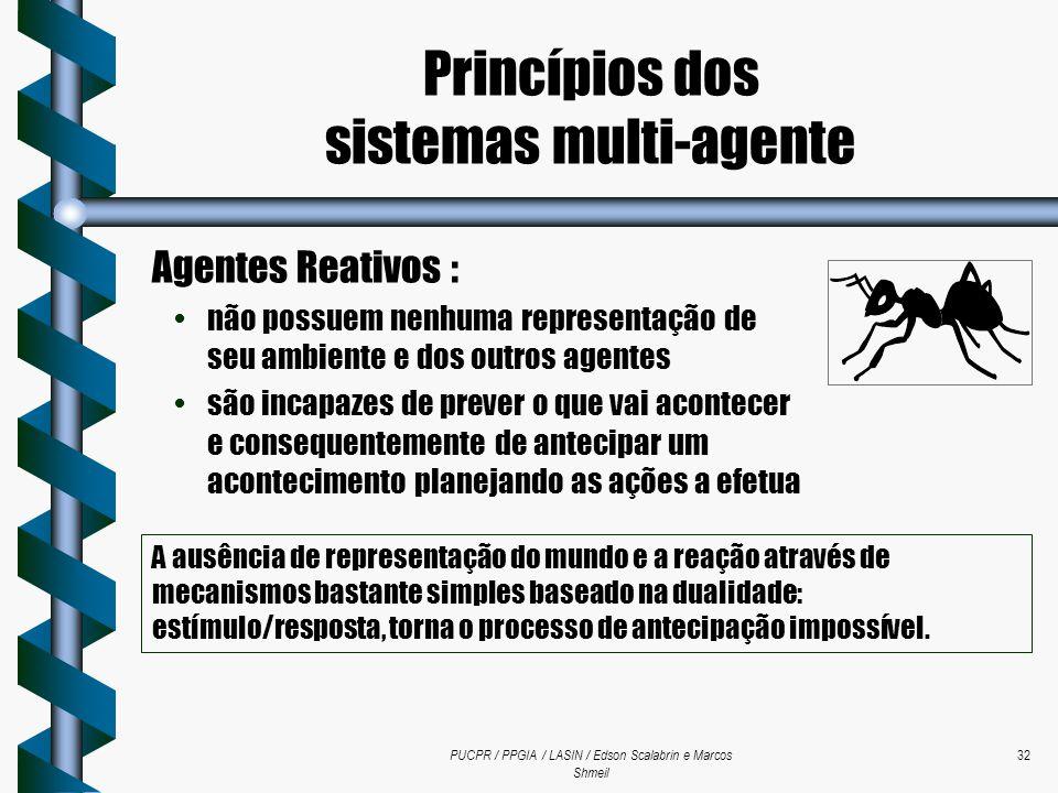 PUCPR / PPGIA / LASIN / Edson Scalabrin e Marcos Shmeil 32 Agentes Reativos : não possuem nenhuma representação de seu ambiente e dos outros agentes s