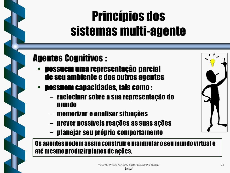 PUCPR / PPGIA / LASIN / Edson Scalabrin e Marcos Shmeil 33 Agentes Cognitivos : possuem uma representação parcial de seu ambiente e dos outros agentes