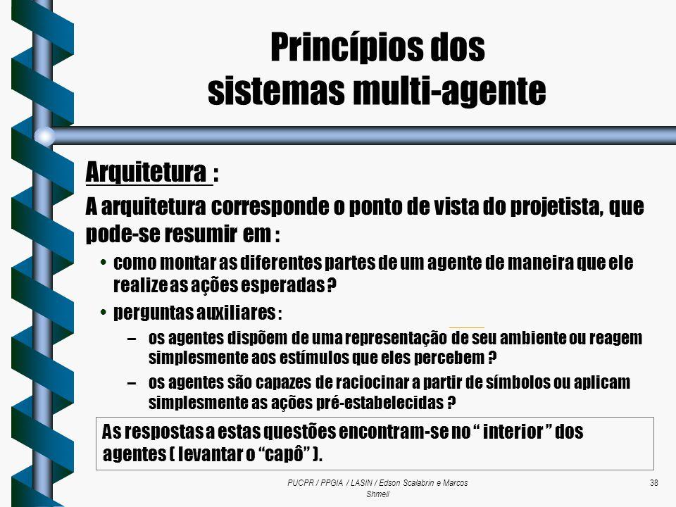 PUCPR / PPGIA / LASIN / Edson Scalabrin e Marcos Shmeil 38 Arquitetura : A arquitetura corresponde o ponto de vista do projetista, que pode-se resumir