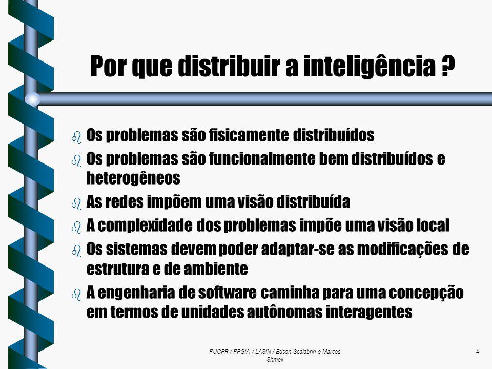 PUCPR / PPGIA / LASIN / Edson Scalabrin e Marcos Shmeil 4 Por que distribuir a inteligência ? b Os problemas são fisicamente distribuídos b Os problem