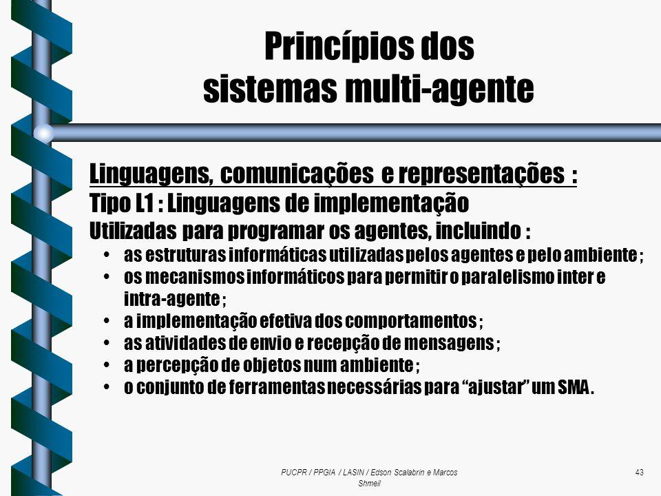 PUCPR / PPGIA / LASIN / Edson Scalabrin e Marcos Shmeil 43 Linguagens, comunicações e representações : Tipo L1 : Linguagens de implementação Utilizada