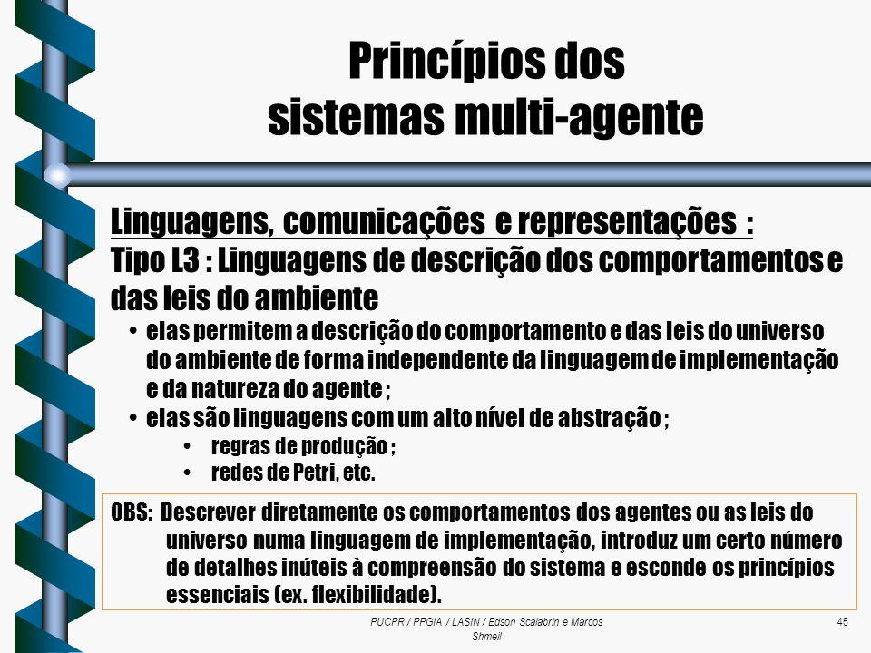 PUCPR / PPGIA / LASIN / Edson Scalabrin e Marcos Shmeil 45 Linguagens, comunicações e representações : Tipo L3 : Linguagens de descrição dos comportam