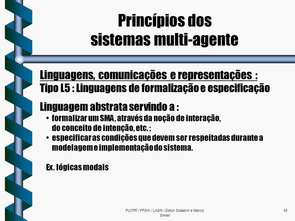 PUCPR / PPGIA / LASIN / Edson Scalabrin e Marcos Shmeil 48 Linguagens, comunicações e representações : Tipo L5 : Linguagens de formalização e especifi