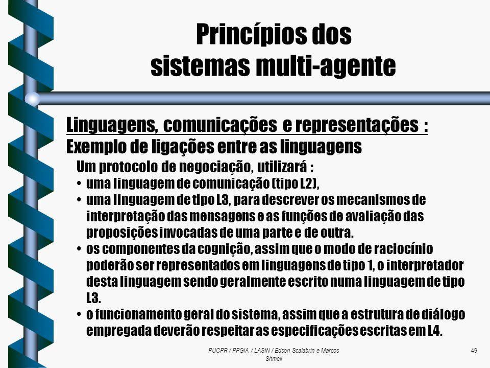 PUCPR / PPGIA / LASIN / Edson Scalabrin e Marcos Shmeil 49 Linguagens, comunicações e representações : Exemplo de ligações entre as linguagens Um prot