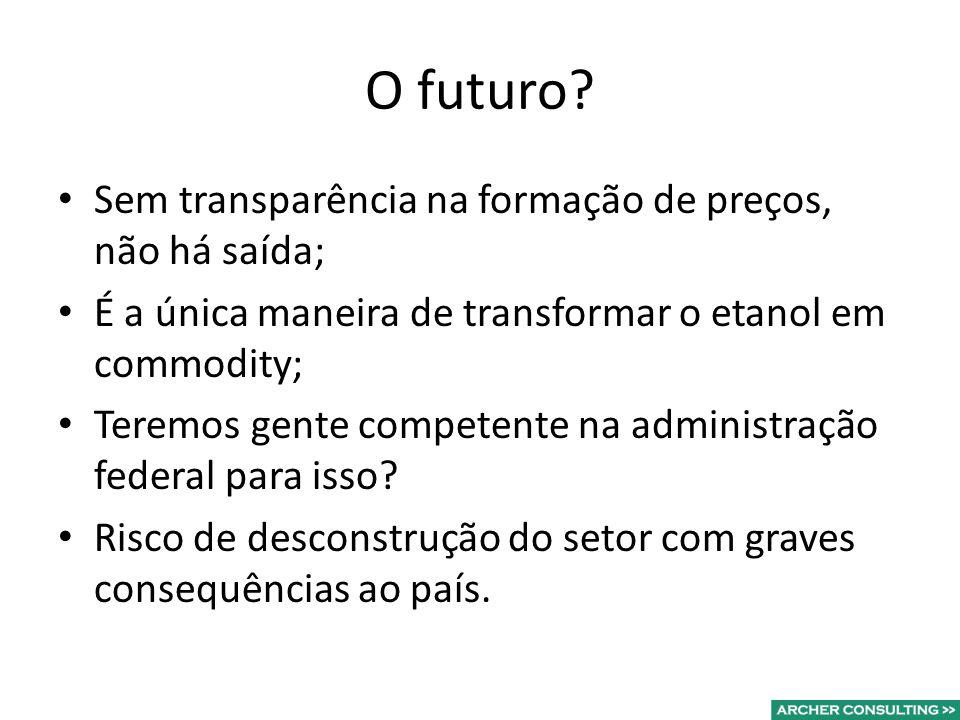 O futuro? Sem transparência na formação de preços, não há saída; É a única maneira de transformar o etanol em commodity; Teremos gente competente na a