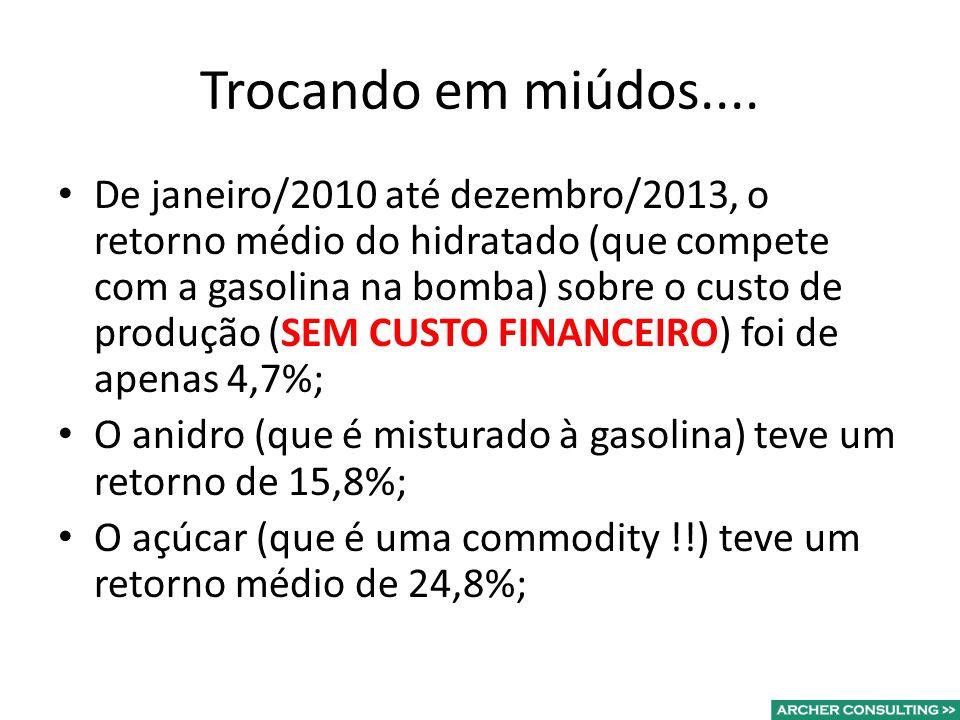 Trocando em miúdos.... De janeiro/2010 até dezembro/2013, o retorno médio do hidratado (que compete com a gasolina na bomba) sobre o custo de produção