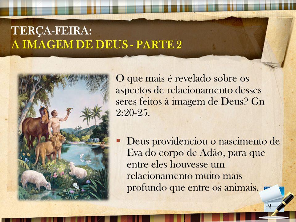 TERÇA-FEIRA: A IMAGEM DE DEUS - PARTE 2 O que mais é revelado sobre os aspectos de relacionamento desses seres feitos à imagem de Deus? Gn 2:20-25. 