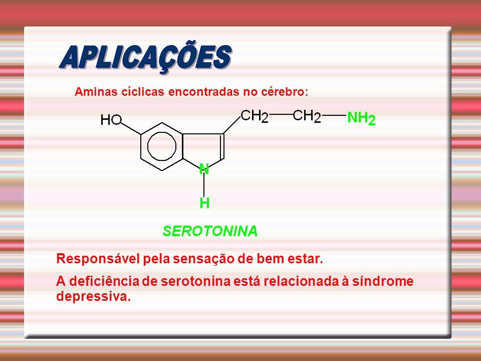 Aminas cíclicas encontradas no cérebro: Responsável pela sensação de bem estar. A deficiência de serotonina está relacionada à síndrome depressiva.