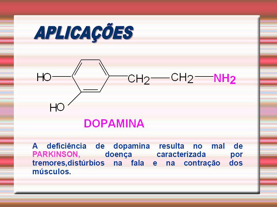 A deficiência de dopamina resulta no mal de PARKINSON, doença caracterizada por tremores,distúrbios na fala e na contração dos músculos.