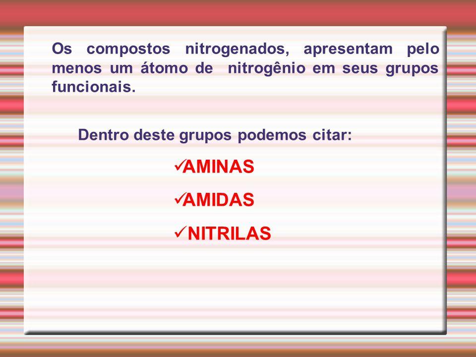 Dentro deste grupos podemos citar: AMINAS AMIDAS NITRILAS Os compostos nitrogenados, apresentam pelo menos um átomo de nitrogênio em seus grupos funci