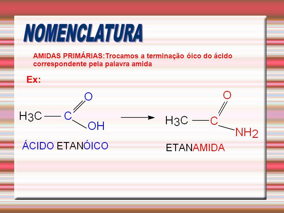 AMIDAS PRIMÁRIAS:Trocamos a terminação óico do ácido correspondente pela palavra amida Ex: