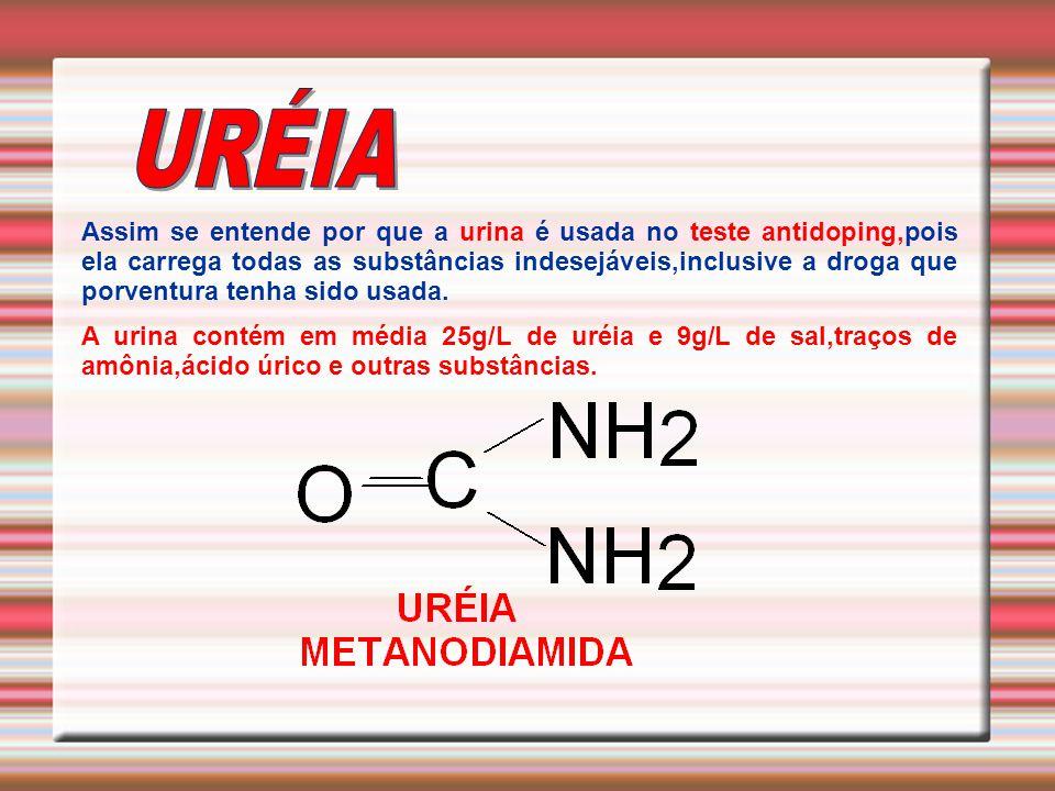 Assim se entende por que a urina é usada no teste antidoping,pois ela carrega todas as substâncias indesejáveis,inclusive a droga que porventura tenha